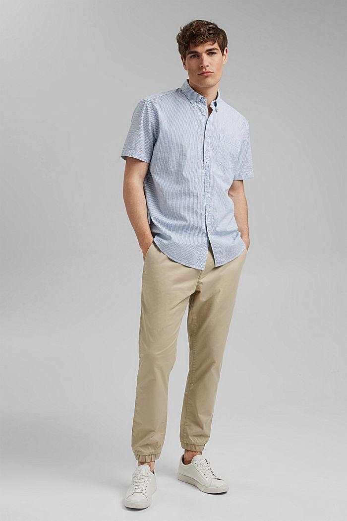 Overhemd met korte mouwen en kreukeffecten, biologisch katoen, BLUE, detail image number 1