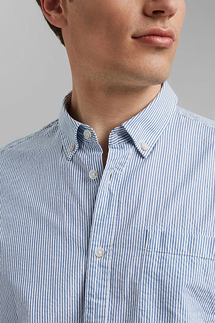 Overhemd met korte mouwen en kreukeffecten, biologisch katoen, BLUE, detail image number 2