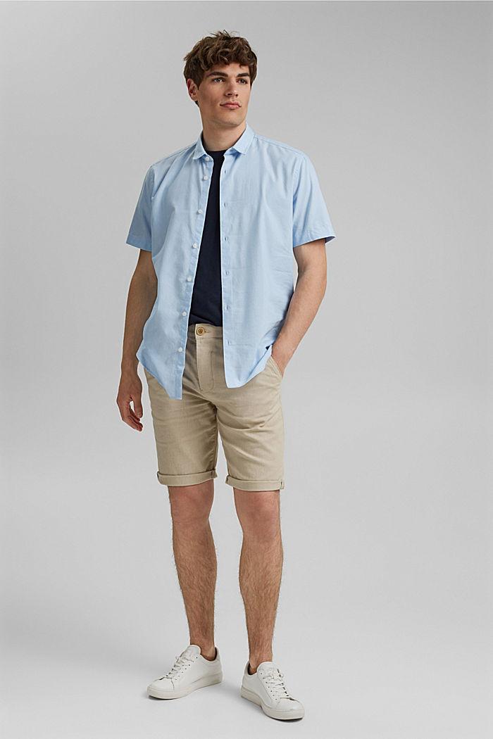 With linen/COOLMAX®: short sleeve shirt, LIGHT BLUE, detail image number 1