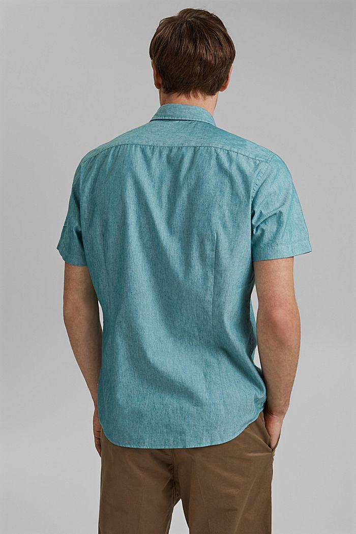 COOLMAX®-käsiteltyä pellavaa: lyhythihainen kauluspaita, PETROL BLUE, detail image number 3