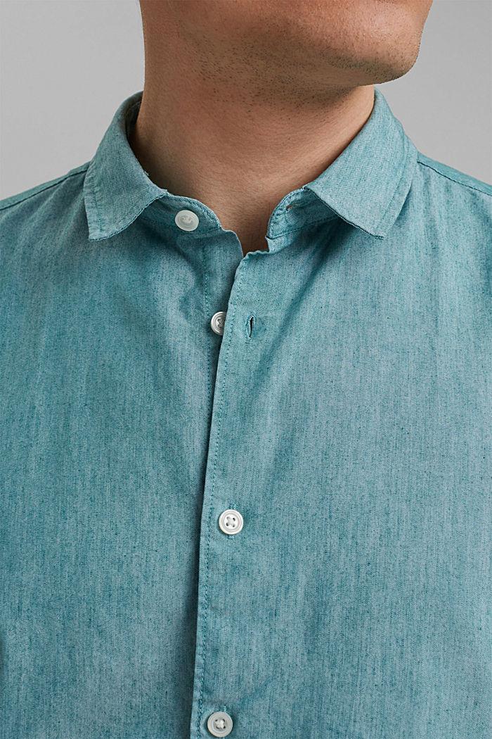 COOLMAX®-käsiteltyä pellavaa: lyhythihainen kauluspaita, PETROL BLUE, detail image number 2