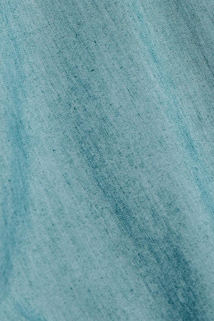 COOLMAX®-käsiteltyä pellavaa: lyhythihainen kauluspaita, PETROL BLUE, detail image number 4