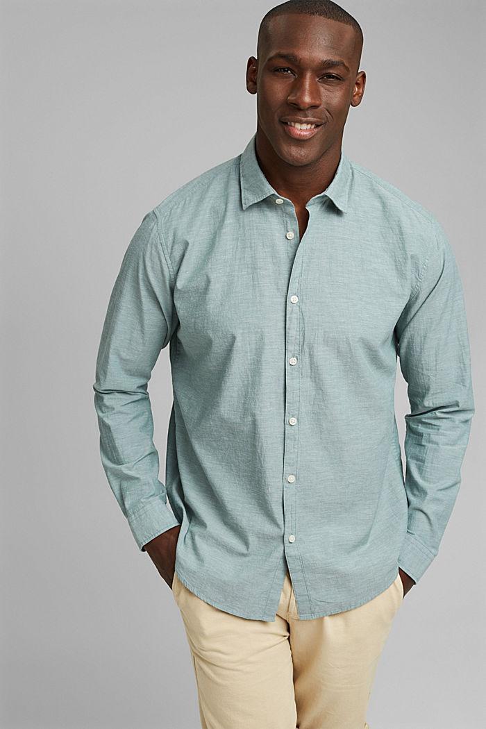 Melírovaná košile ze 100% bio bavlny, TEAL BLUE, detail image number 0