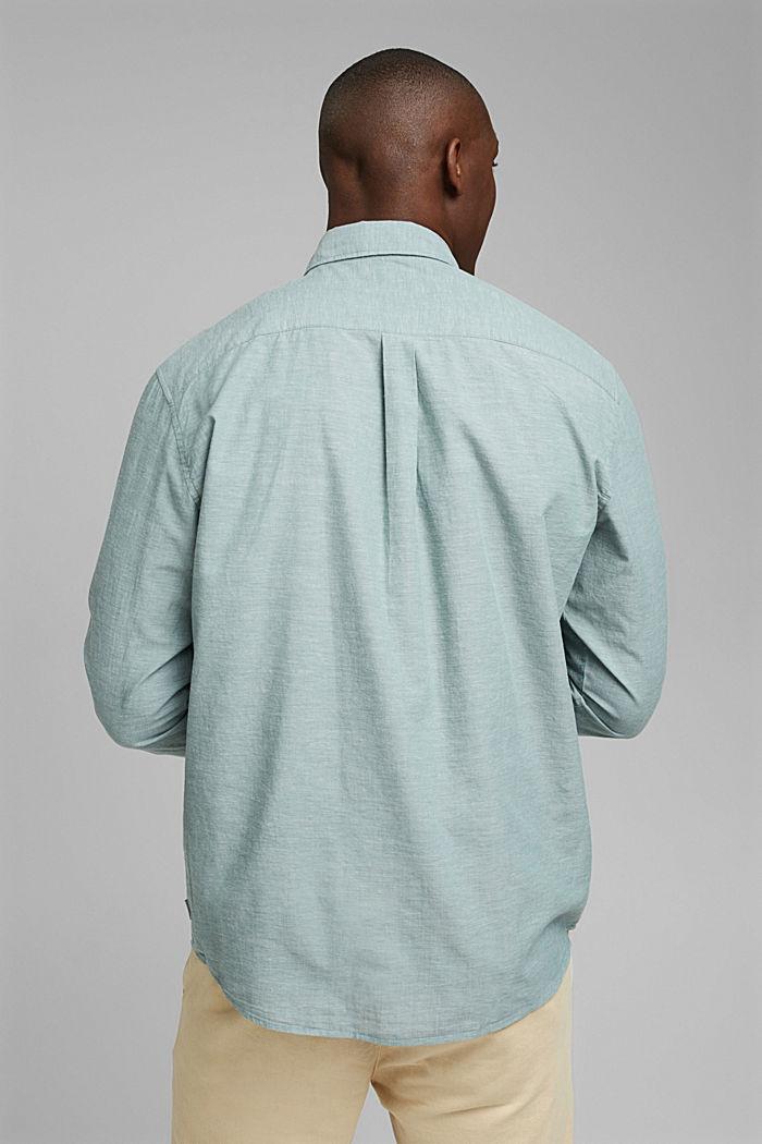 Melírovaná košile ze 100% bio bavlny, TEAL BLUE, detail image number 3