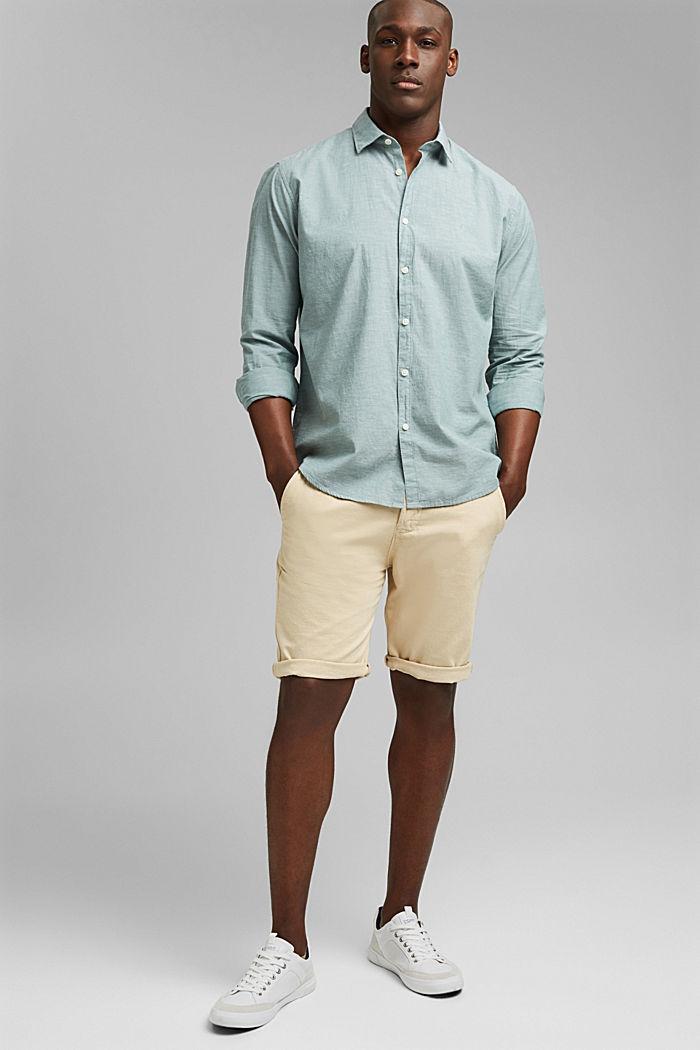 Melírovaná košile ze 100% bio bavlny, TEAL BLUE, detail image number 1