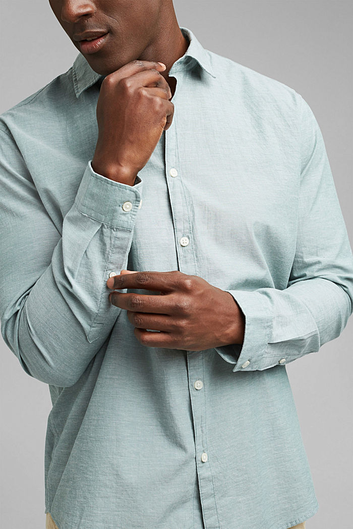Melírovaná košile ze 100% bio bavlny, TEAL BLUE, detail image number 2