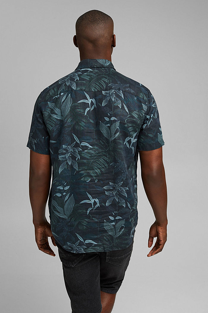 100% lnu: koszula z krótkim rękawem i nadrukiem, BLACK, detail image number 3
