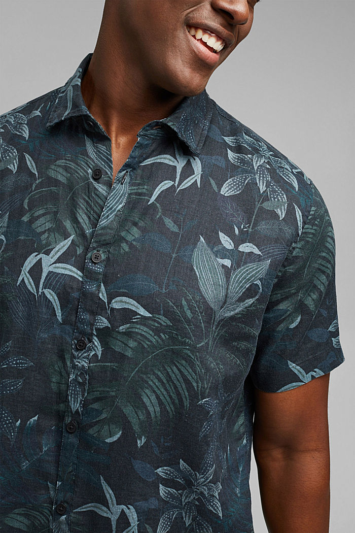 100% lnu: koszula z krótkim rękawem i nadrukiem, BLACK, detail image number 2