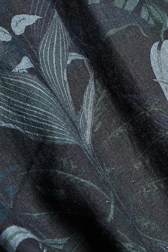 100% lnu: koszula z krótkim rękawem i nadrukiem, BLACK, detail image number 4