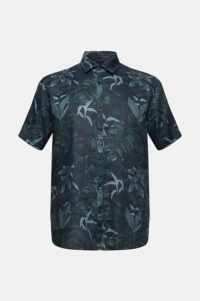 Van 100% linnen: overhemd met korte mouwen en print