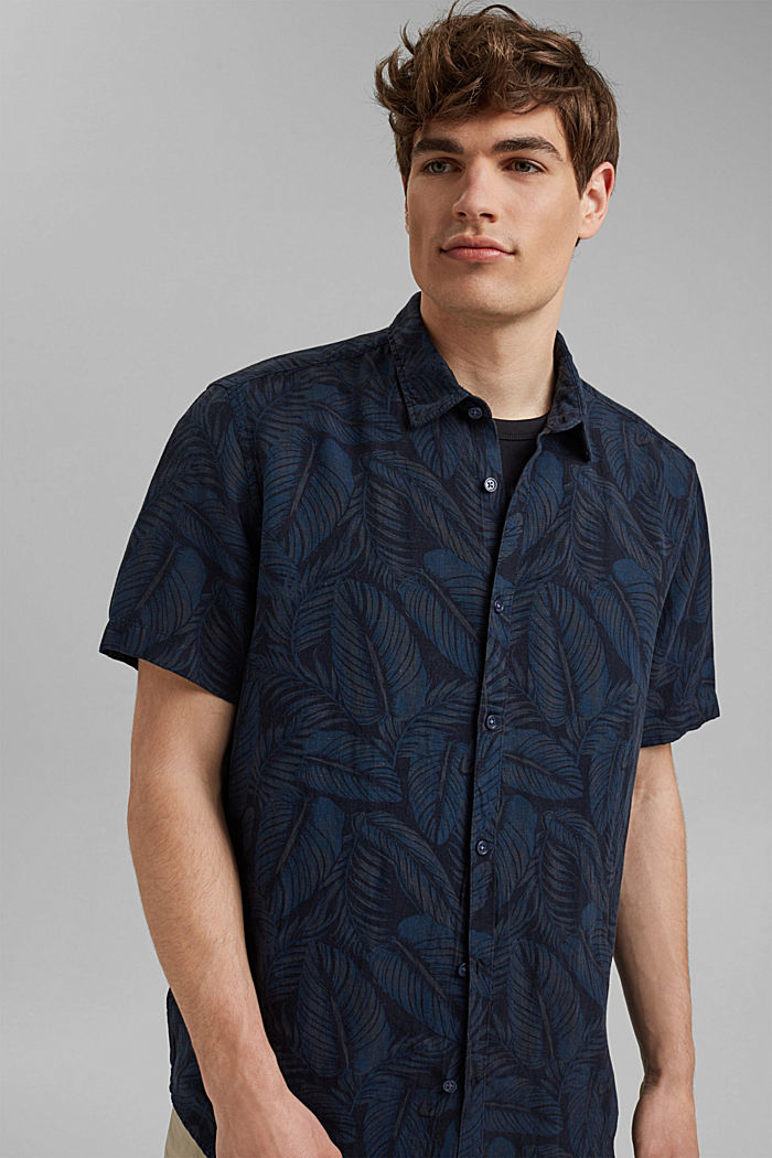 Linnenmix: overhemd met korte mouwen en print