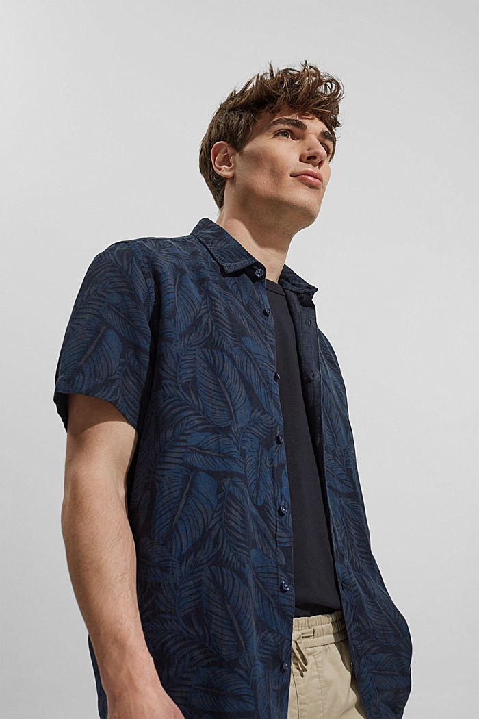 Linen blend: short-sleeved shirt with a print, NAVY, detail image number 5