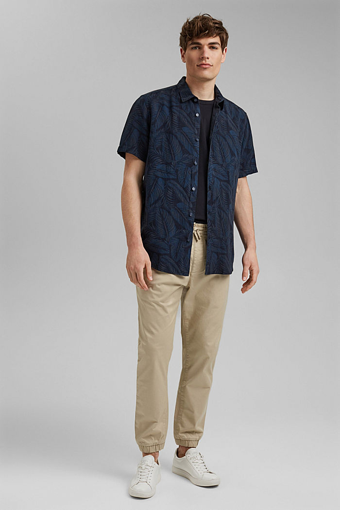 Linen blend: short-sleeved shirt with a print, NAVY, detail image number 1