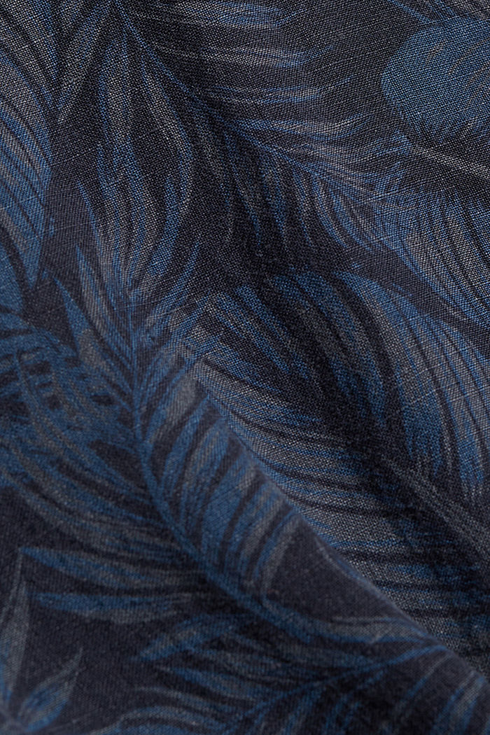 Linen blend: short-sleeved shirt with a print, NAVY, detail image number 4