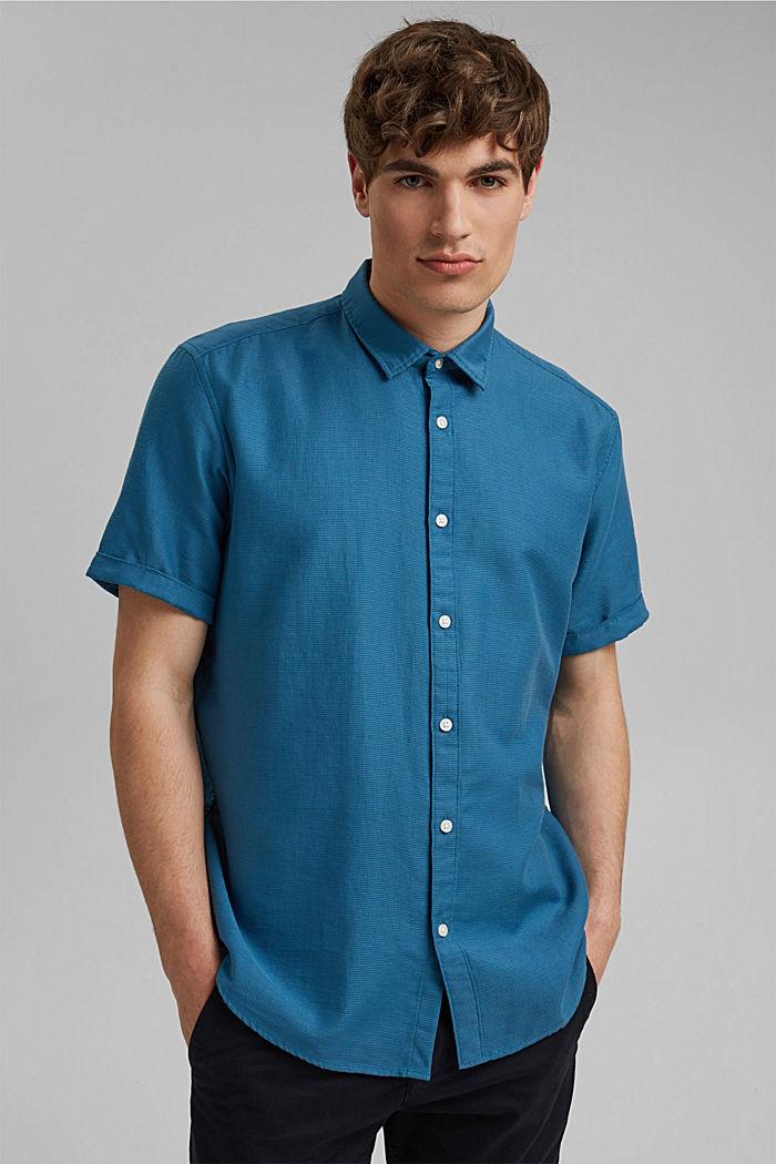 Camisa de manga corta confeccionada en 100 % algodón ecológico, PETROL BLUE, detail image number 0