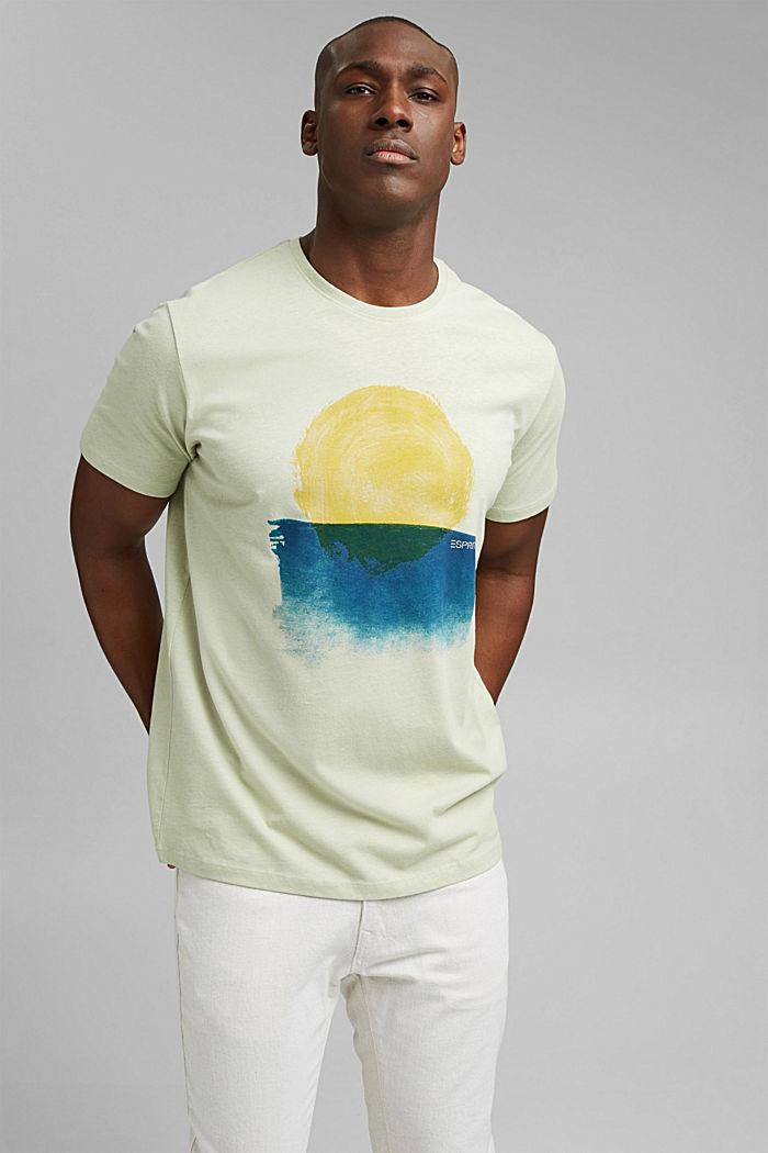 Jersey T-shirt made of organic cotton/linen, PASTEL GREEN, detail image number 0