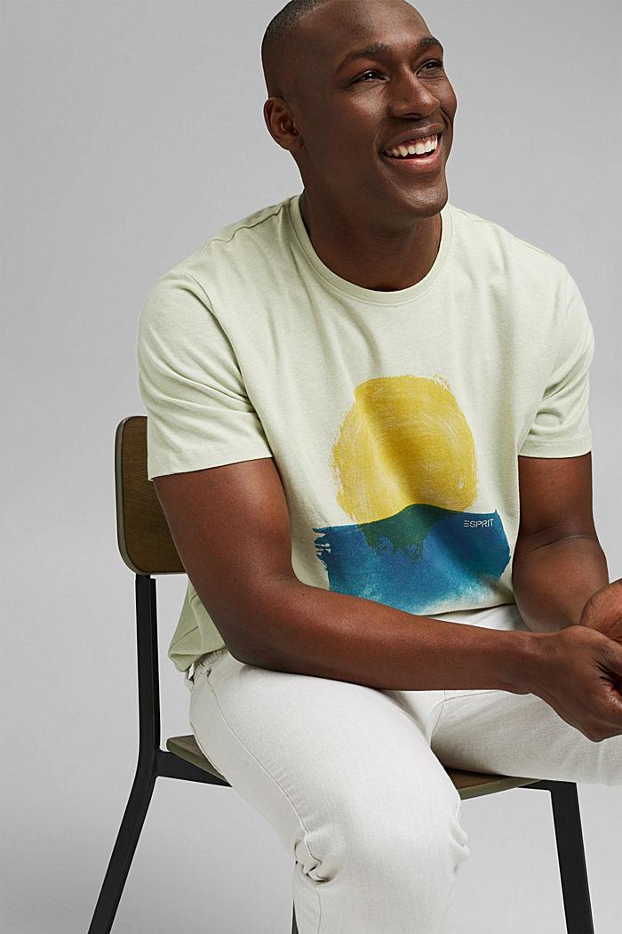 T-shirt in jersey di cotone biologico/lino