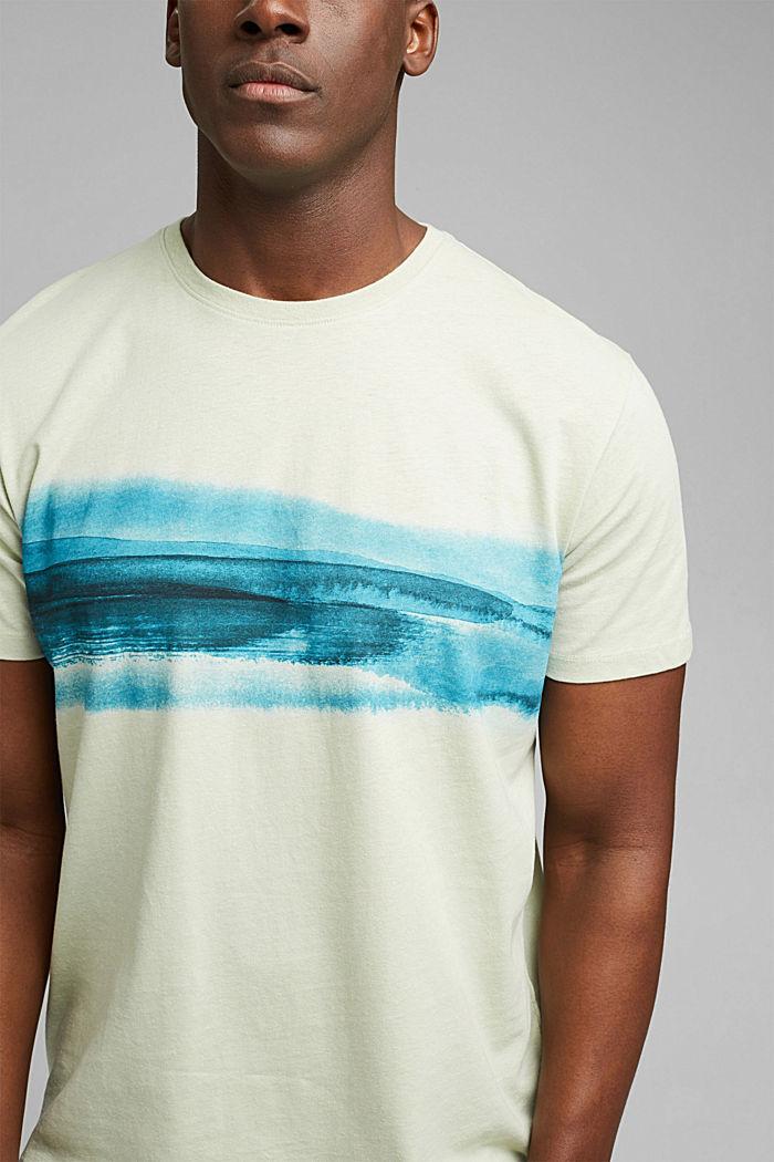 Jersey T-shirt met print, 100% biologisch katoen, PASTEL GREEN, detail image number 1