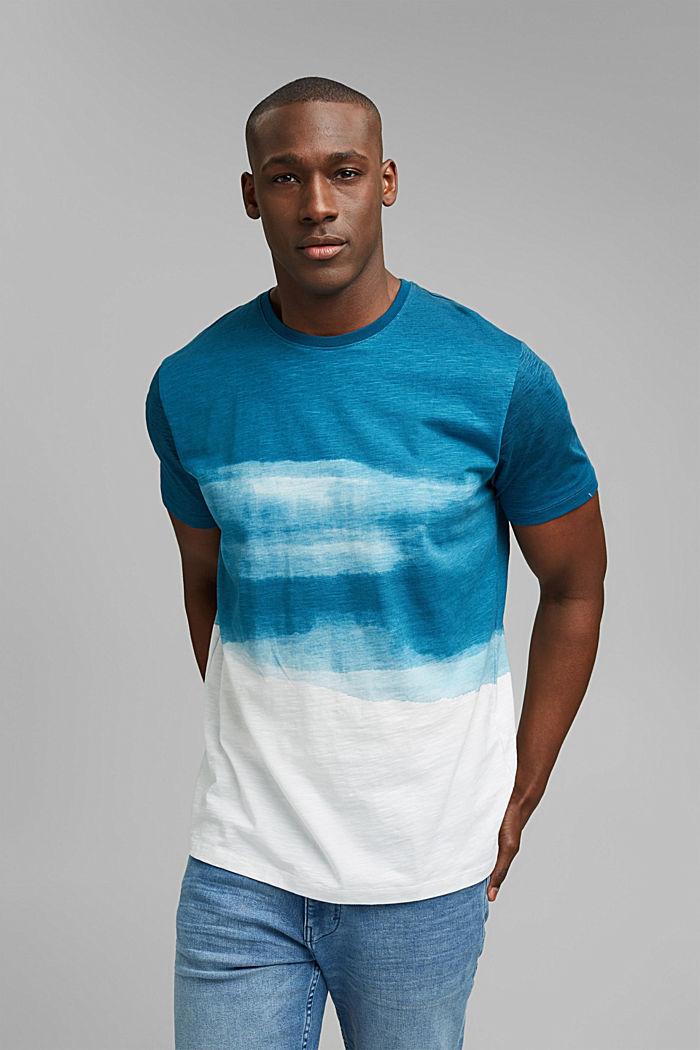 Dżersejowy T-shirt z nadrukiem, 100% bawełny ekologicznej, PETROL BLUE, detail image number 0
