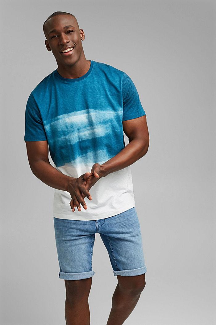 Dżersejowy T-shirt z nadrukiem, 100% bawełny ekologicznej, PETROL BLUE, detail image number 4