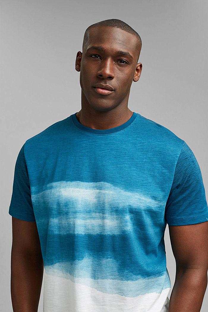 Dżersejowy T-shirt z nadrukiem, 100% bawełny ekologicznej, PETROL BLUE, detail image number 6