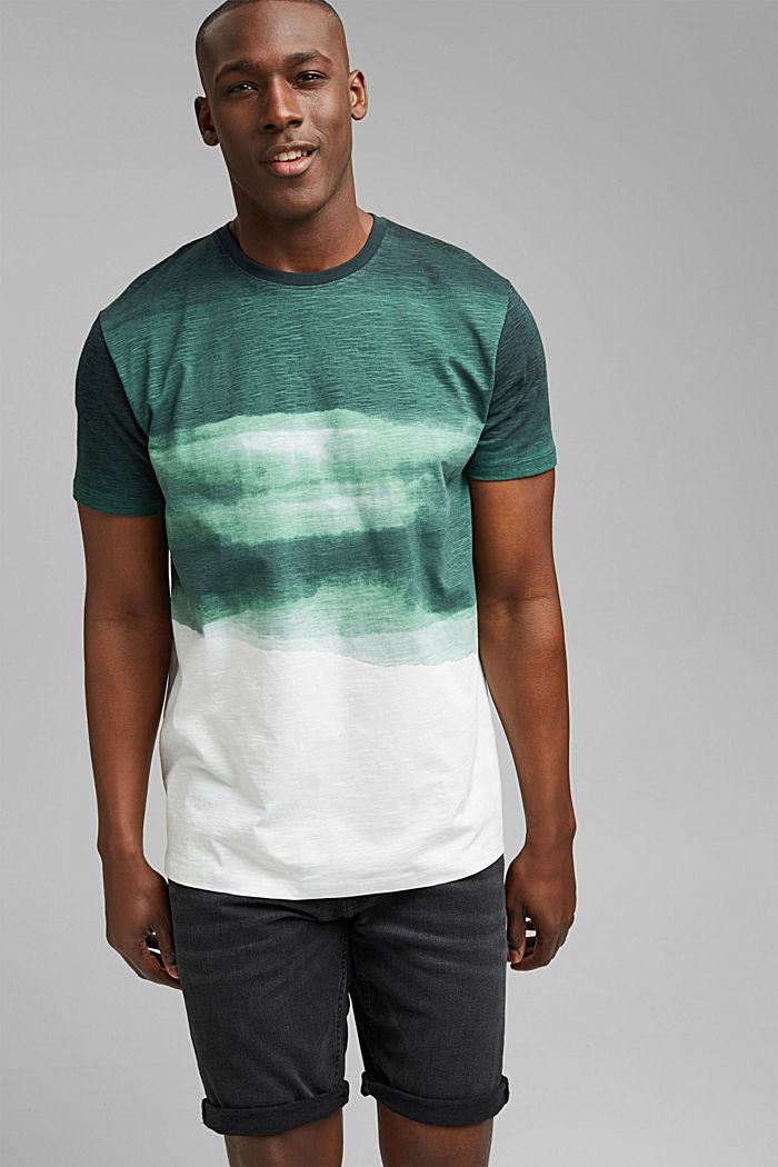Dżersejowy T-shirt z nadrukiem, 100% bawełny ekologicznej, TEAL GREEN, detail image number 0