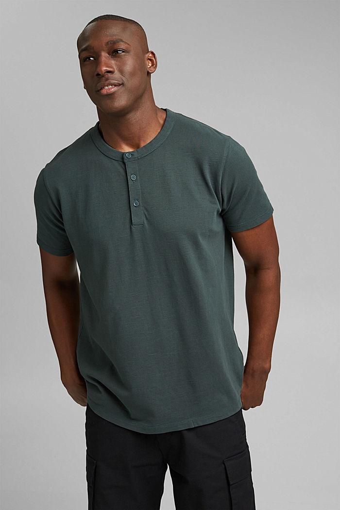 Piqué T-shirt van 100% biologisch katoen, TEAL BLUE, detail image number 0