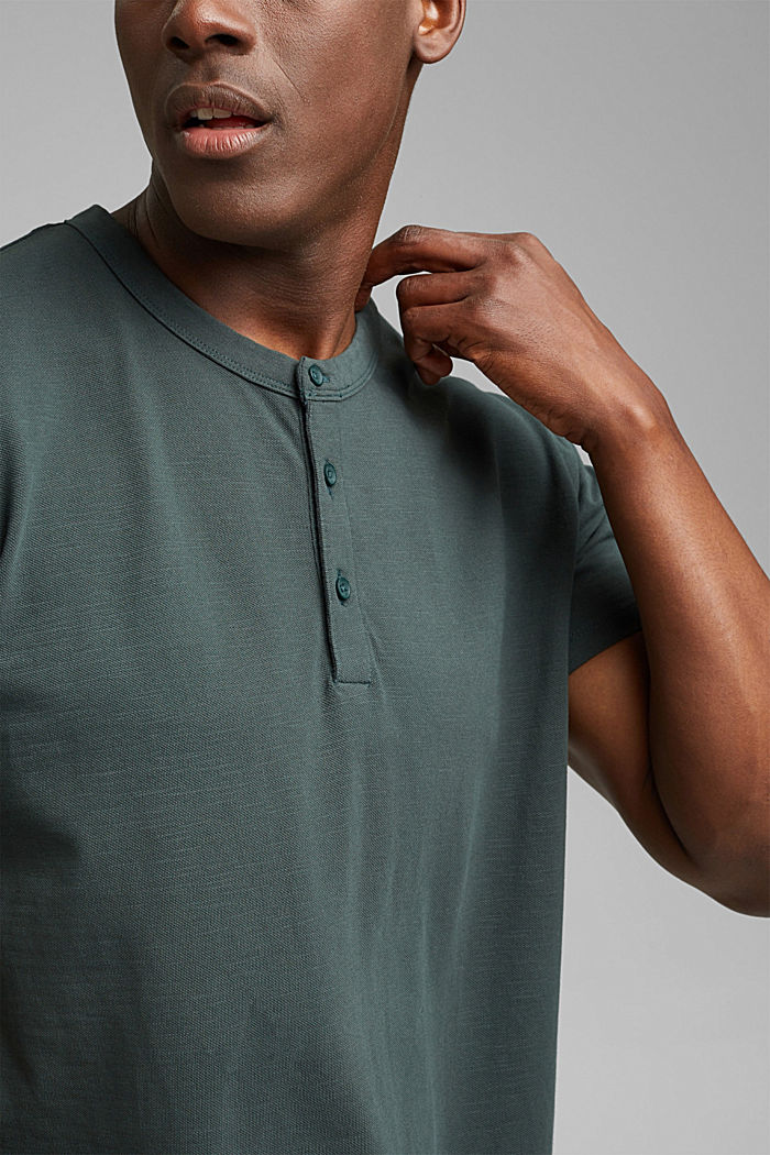 Piqué T-shirt van 100% biologisch katoen, TEAL BLUE, detail image number 1