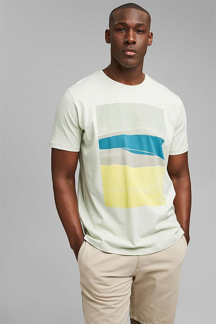 Jersey T-shirt met print, 100% biologisch katoen, PASTEL GREEN, detail image number 0