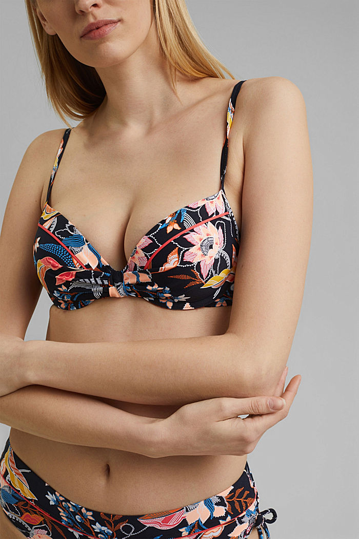 Recycled: padded underwire bikini top with a print