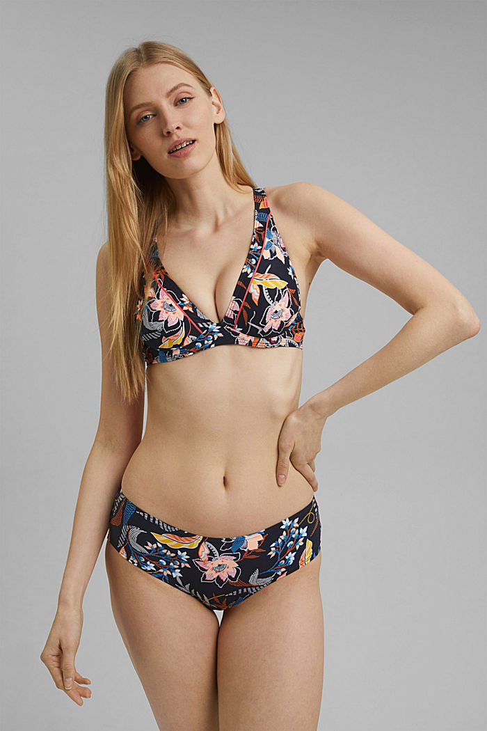 Recycled: hipster shorts with a floral print, NAVY, detail image number 0