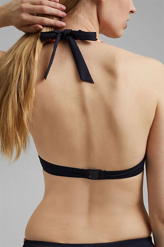 Z recyklovaného materiálu: top neckholder se splétanými detaily, NAVY, detail image number 3