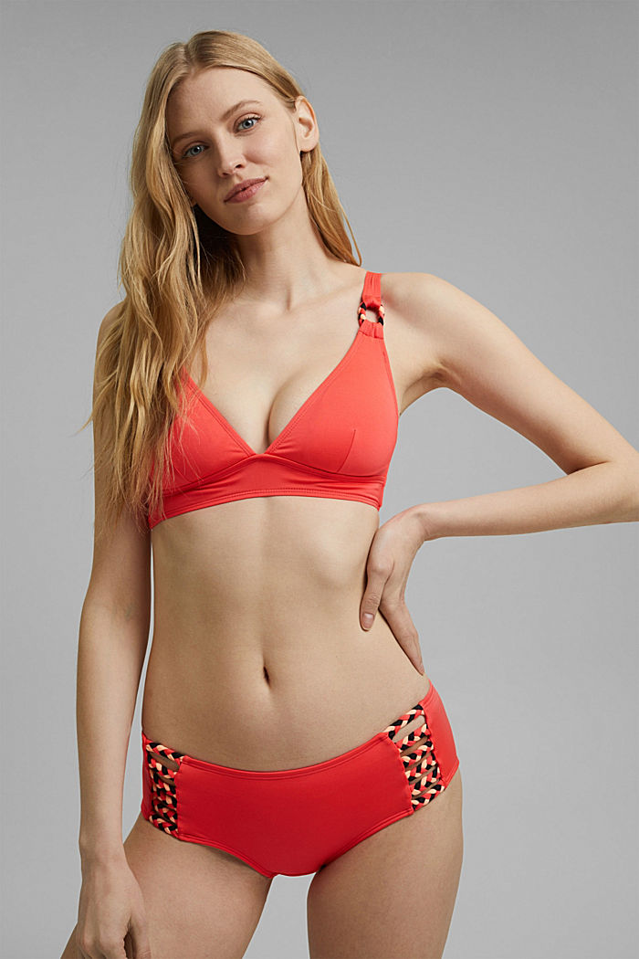 Recycled: padded top with braided details, CORAL, detail image number 0