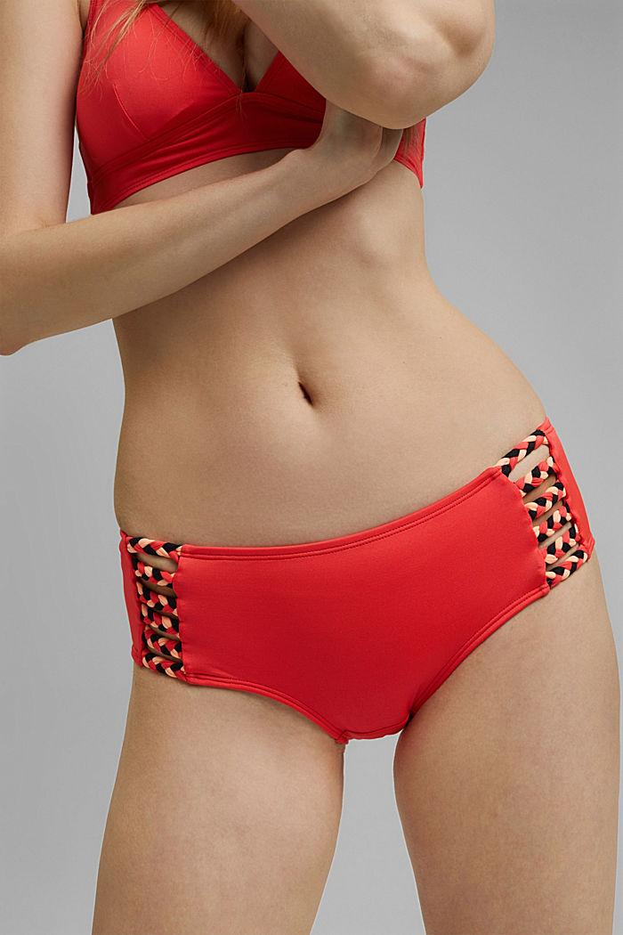 Recycelt: Hipster-Shorts mit Flecht-Detail, CORAL, detail image number 1