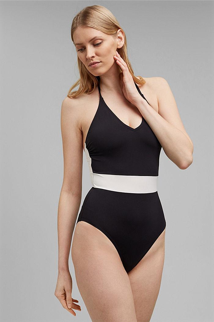 Recycled unpadded halterneck swimsuit, BLACK, detail image number 0