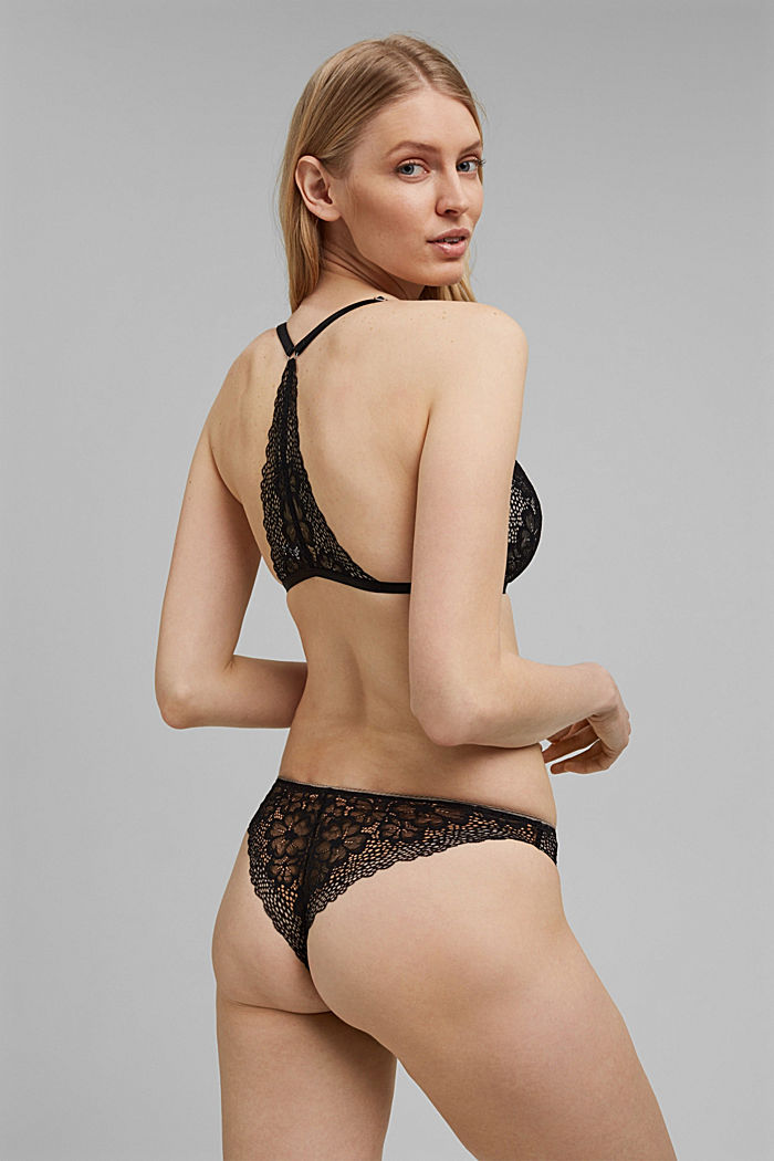 Recycled: padded lace bra with a racer back, BLACK, detail image number 1