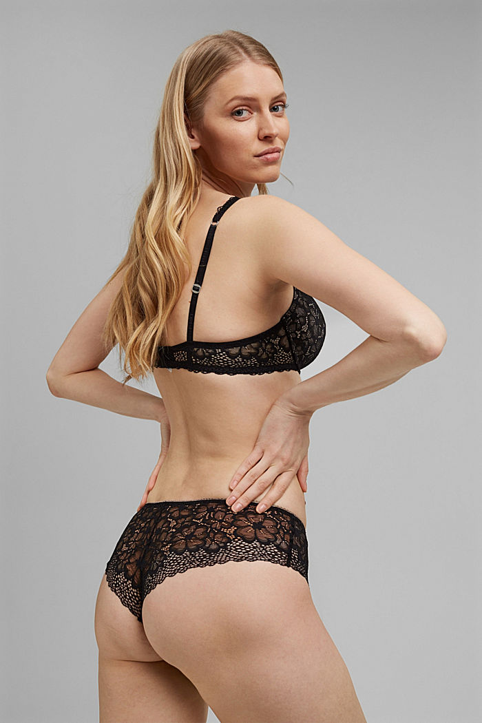 Recycled: Brazilian hipster shorts with lace, BLACK, detail image number 3