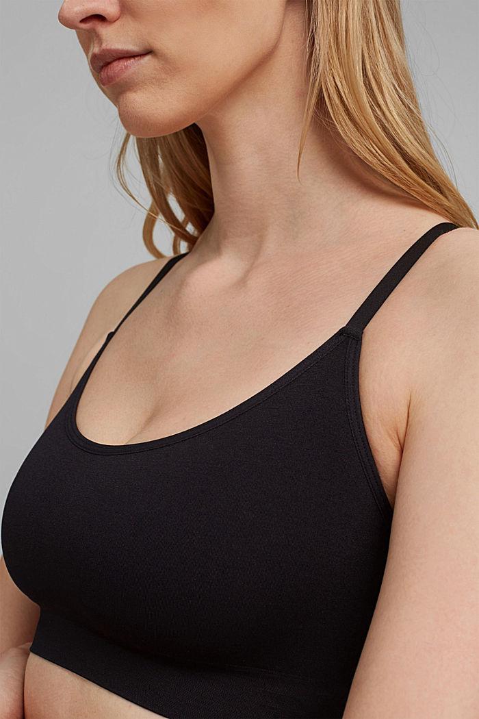 Unpadded, virtually seamless bra, BLACK, detail image number 3