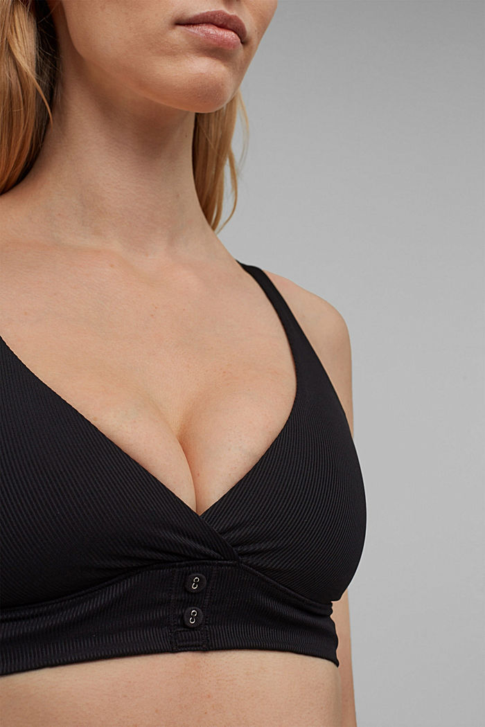 Recycled: unpadded, non-wired bra, BLACK, detail image number 3