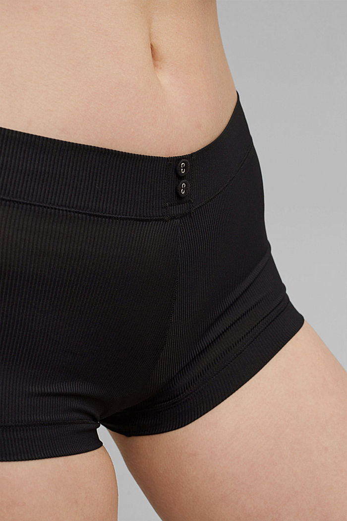 Recycled: shorts in fine rib fabric, BLACK, detail image number 2