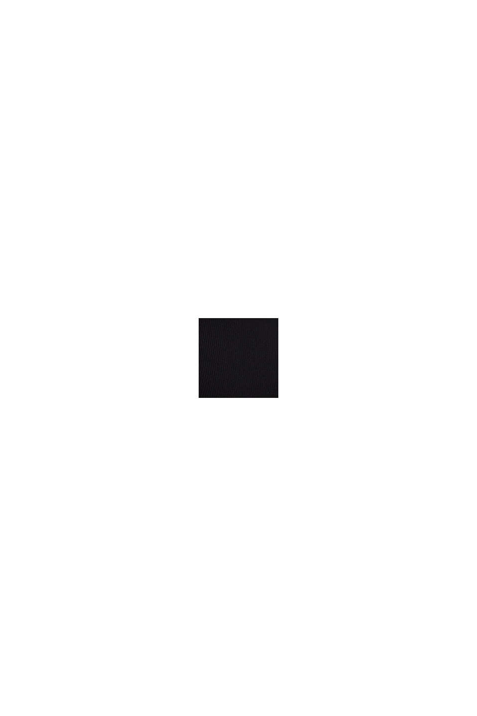 Gerecycled: fijn geribde henley-top, BLACK, swatch