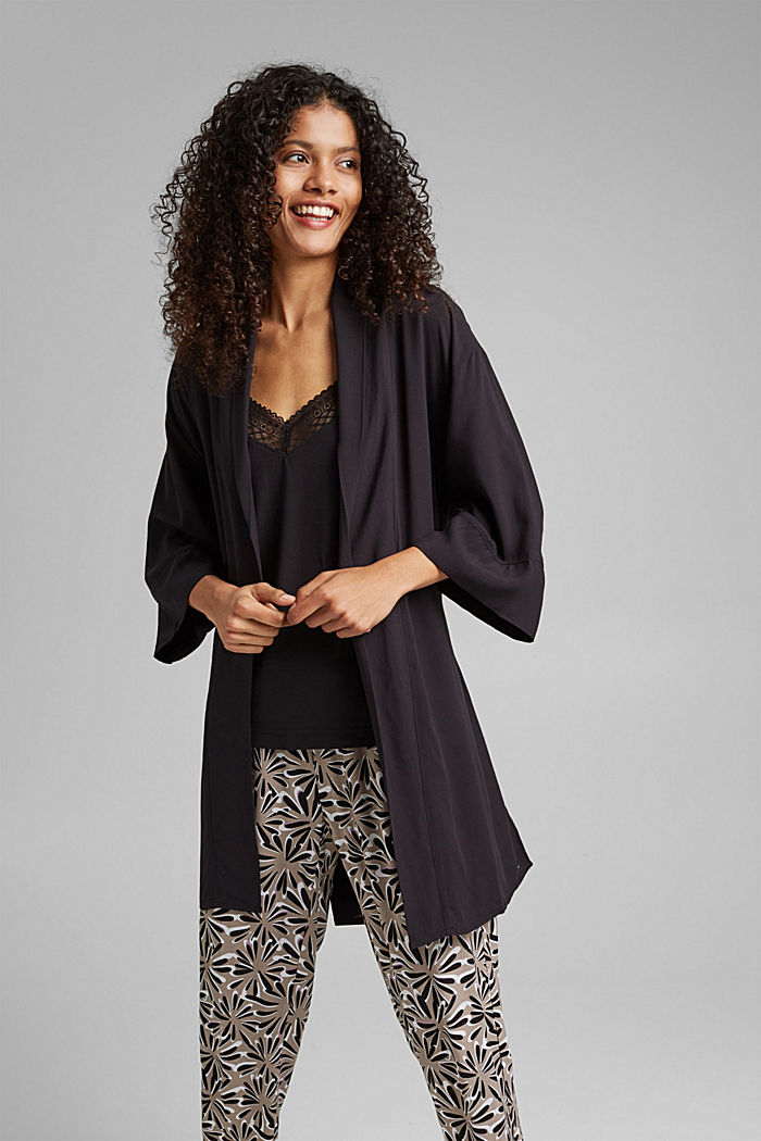 Kimono LENZING™ ECOVERO™ -materiaalia, BLACK, detail image number 1