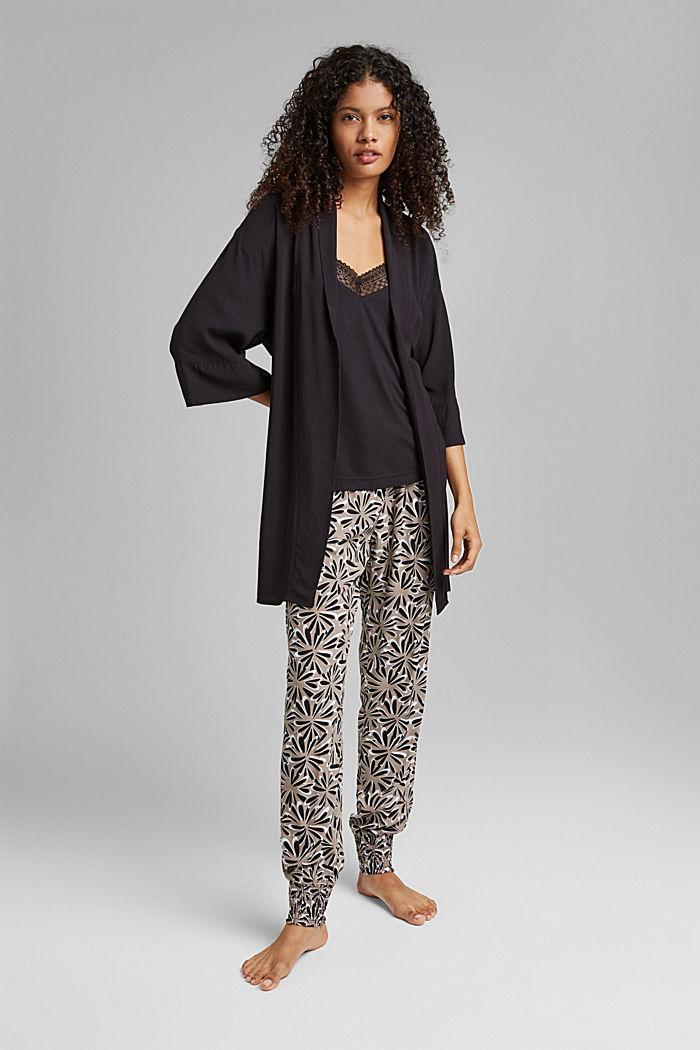Kimono LENZING™ ECOVERO™ -materiaalia, BLACK, detail image number 0