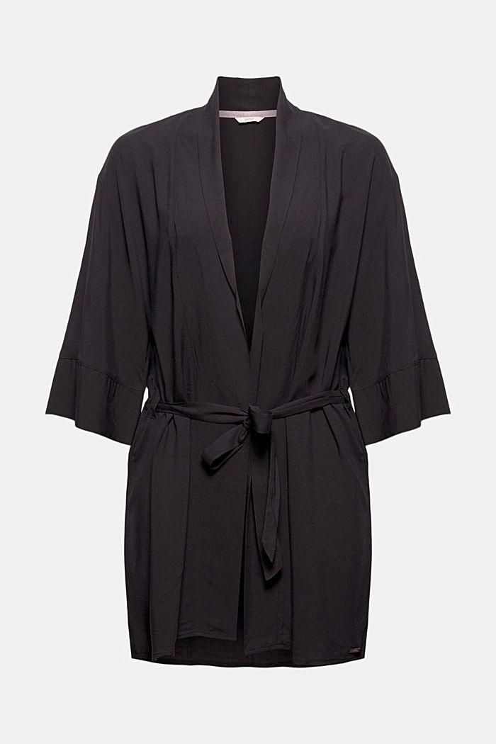 Kimono LENZING™ ECOVERO™ -materiaalia, BLACK, detail image number 5