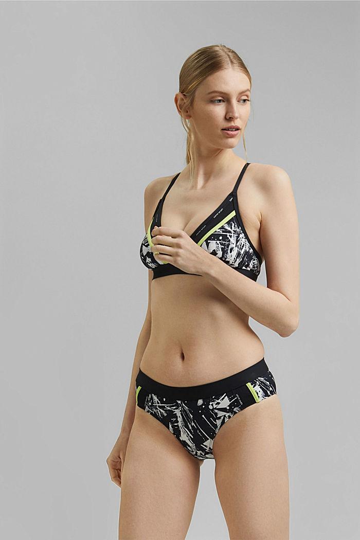 Bikinitop zonder beugels met print en mesh, BLACK, detail image number 0