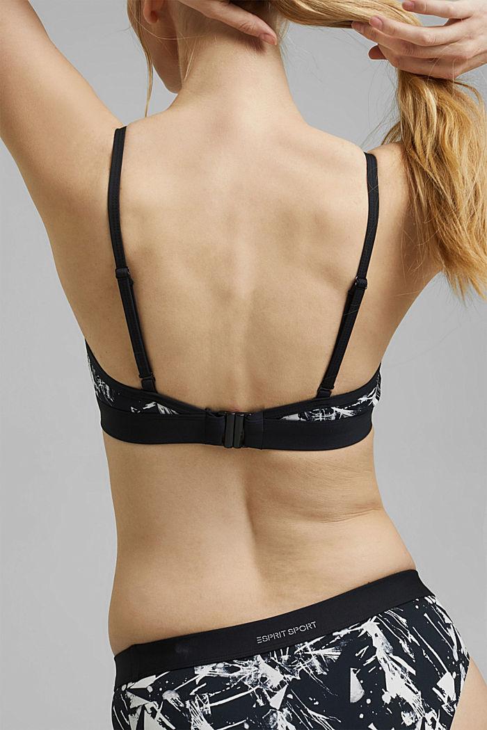 Bikinitop zonder beugels met print en mesh, BLACK, detail image number 3