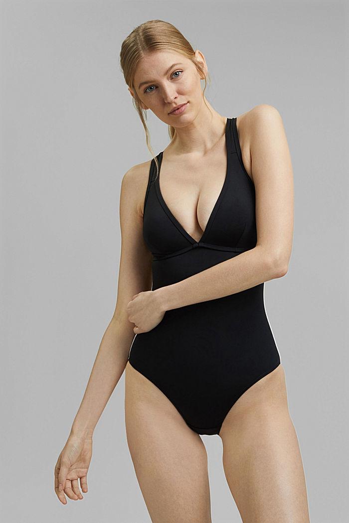 Wattierter Badeanzug mit Mesh, BLACK, detail image number 0