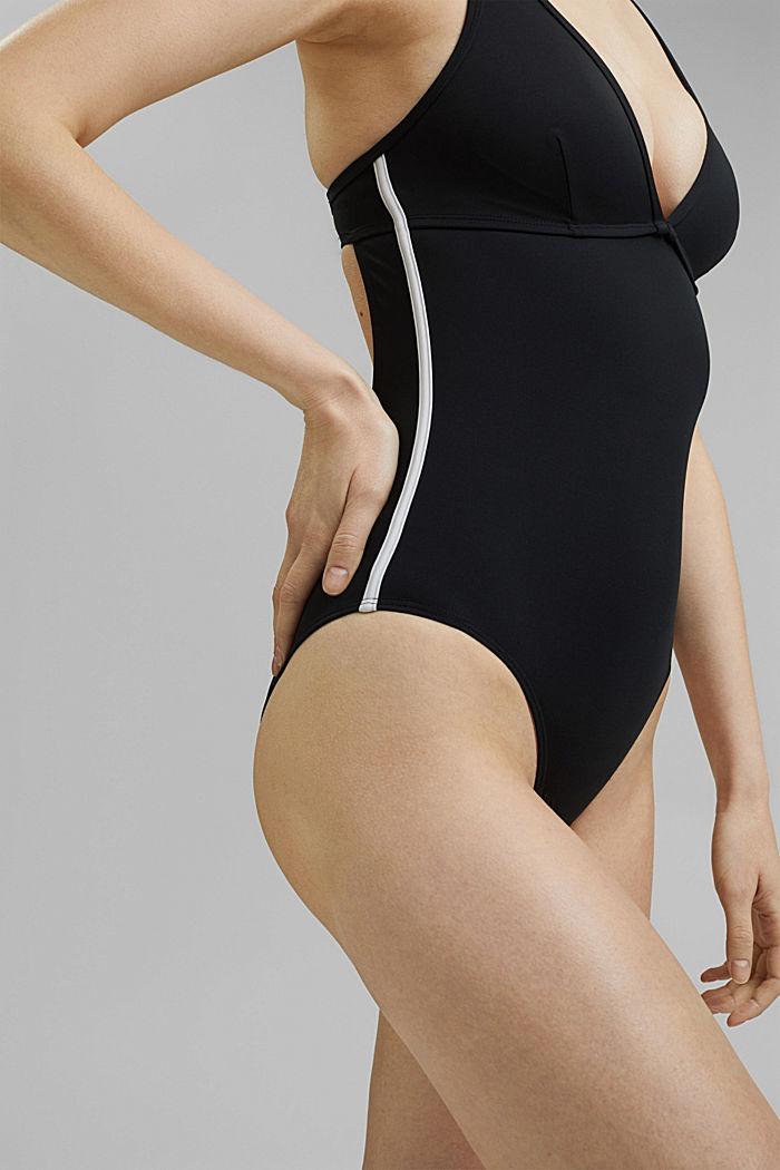 Wattierter Badeanzug mit Mesh, BLACK, detail image number 2