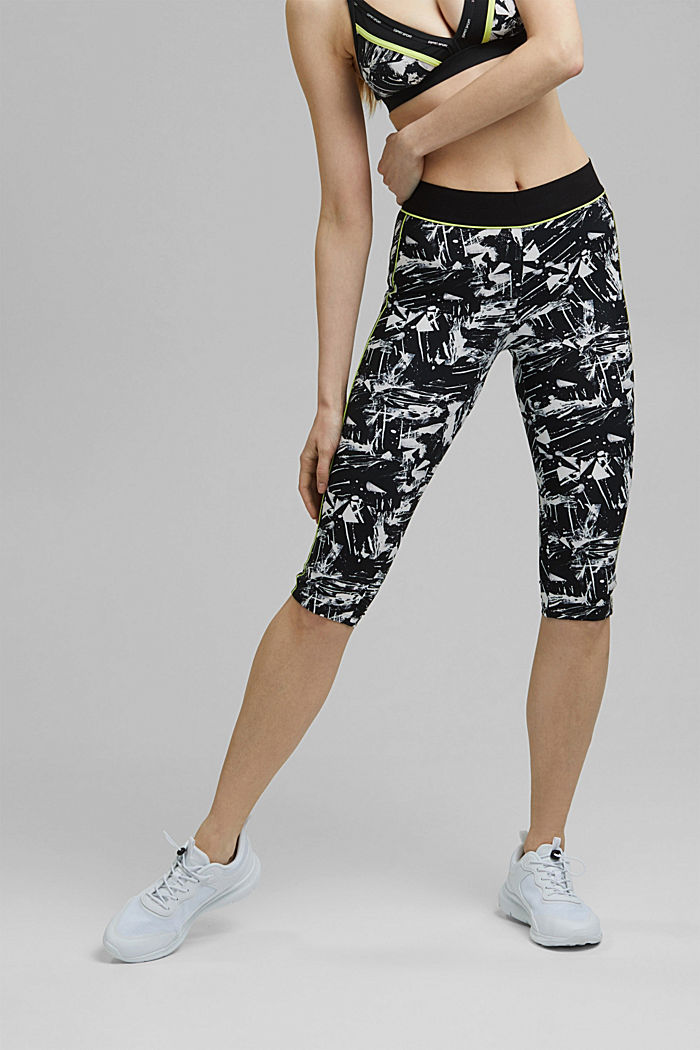 Recycled: high-performance leggings with a print, E-DRY, BLACK, detail image number 0