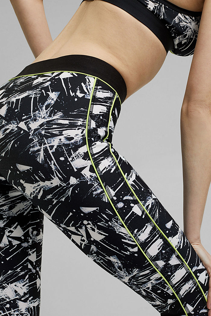Recycled: high-performance leggings with a print, E-DRY, BLACK, detail image number 2